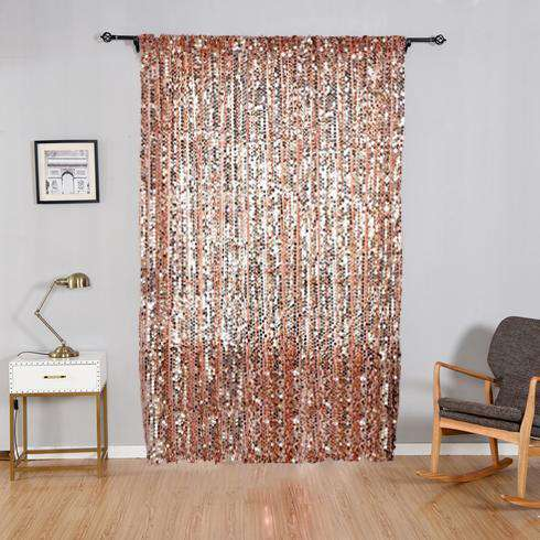 "2 Pack 52x96""  Big Payette Sequin Window Treatment Home Decor Curtain Backdrop Panels With Rod Pockets- Rose Gold 