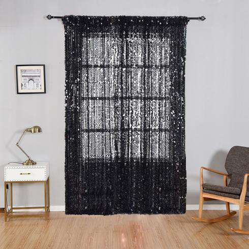 "2 Pack | 52""x84"" Black Big Payette Sequin Curtains With Rod Pocket Window Treatment Panels"