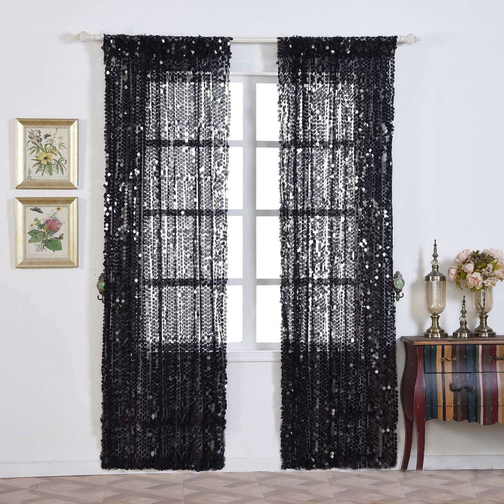 "Big Payette Sequin Curtains 52x96"" Black Pack of 2 Window Treatment Panels With Rod Pockets"