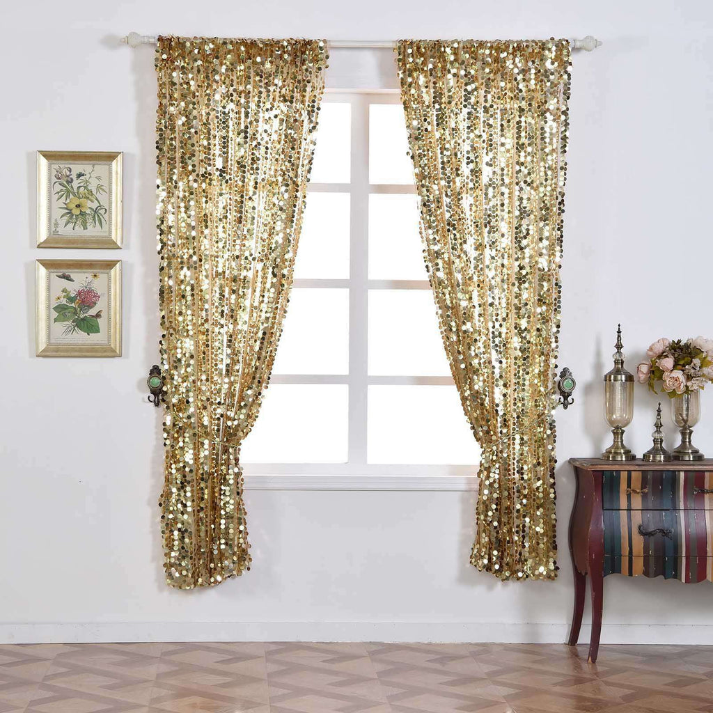 "Big Payette Sequin Curtains 52x96"" Champagne Pack of 2 Window Treatment Panels With Rod Pockets"