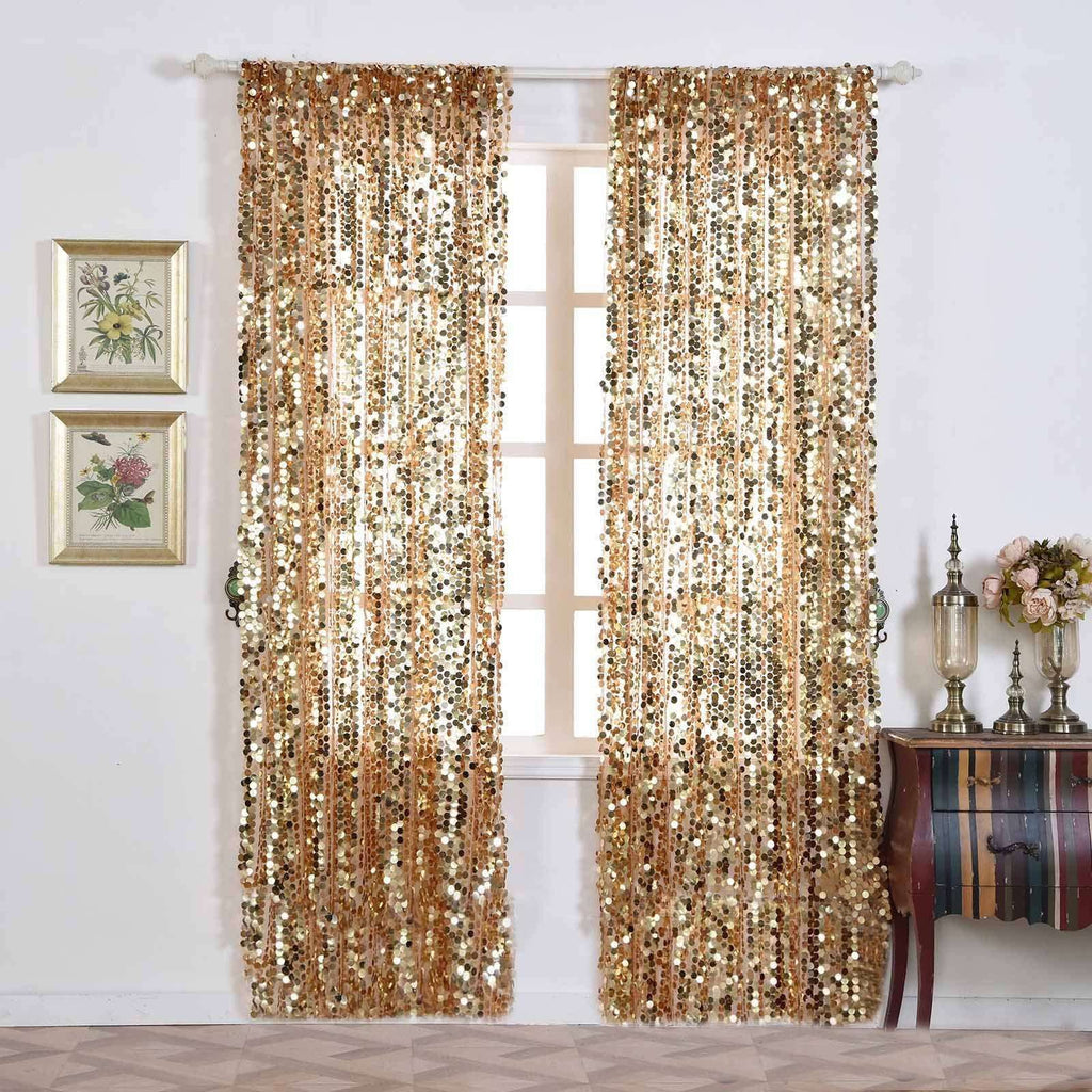 "Big Payette Sequin Curtains 52x96"" Gold Pack of 2 Window Treatment Panels With Rod Pockets"