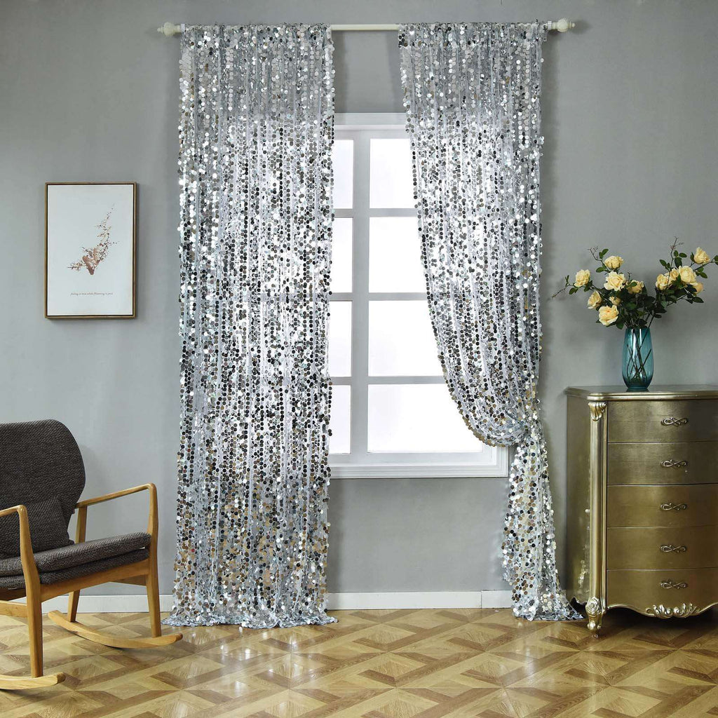 "Big Payette Sequin Curtains 52x96"" Silver Pack of 2 Window Treatment Panels With Rod Pockets"