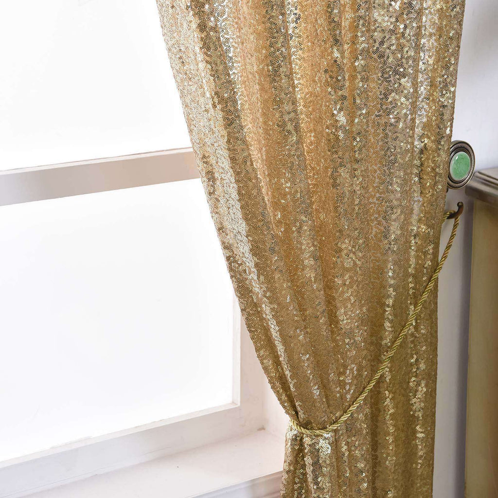 "2 Pack | 52""x64"" Champagne Sequin Curtains With Rod Pocket Window Treatment Panels"