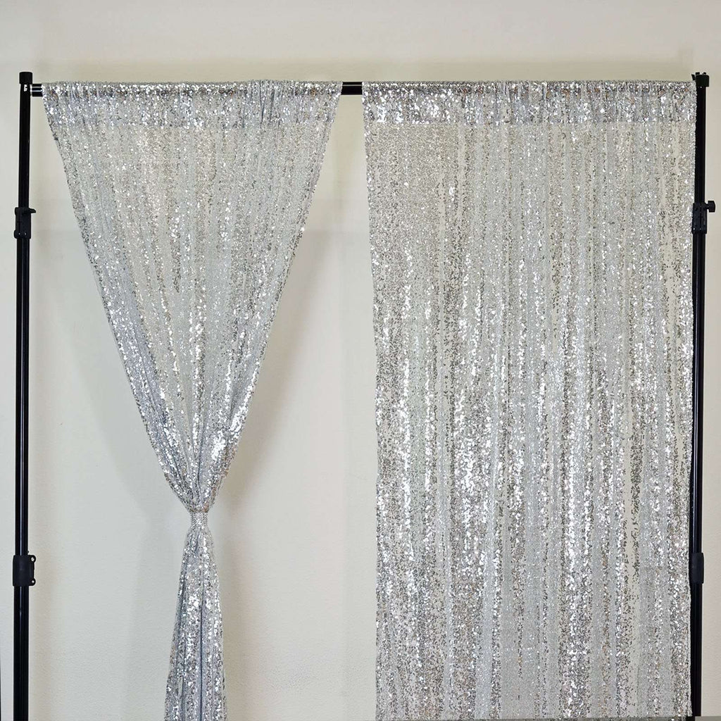 "2 Pack | 52""x64 Inches Silver Sequin Curtains With Rod Pocket Window Treatment Panels"