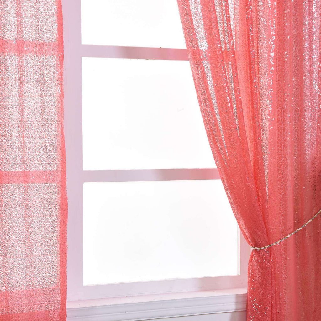 "2 Pack | 52""x84 Inches Coral Sequin Curtains With Rod Pocket Window Treatment Panels"