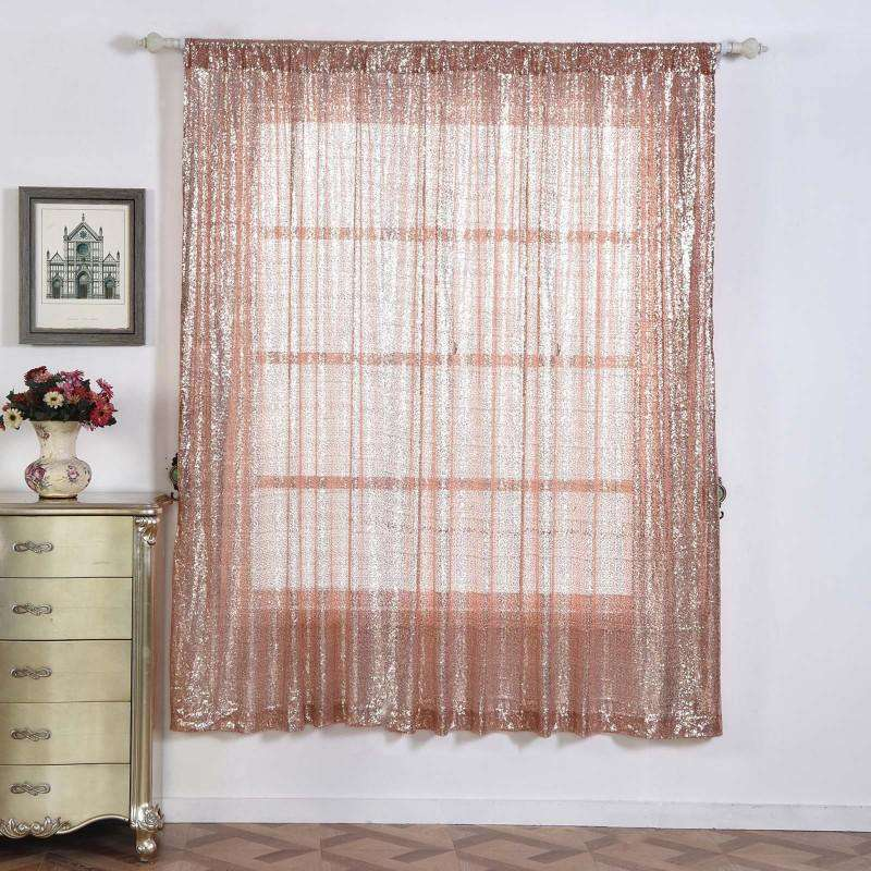 "2 Pack | 52""x96"" Sequin Curtains With Rod Pocket Window Treatment Panels - Rose Gold 