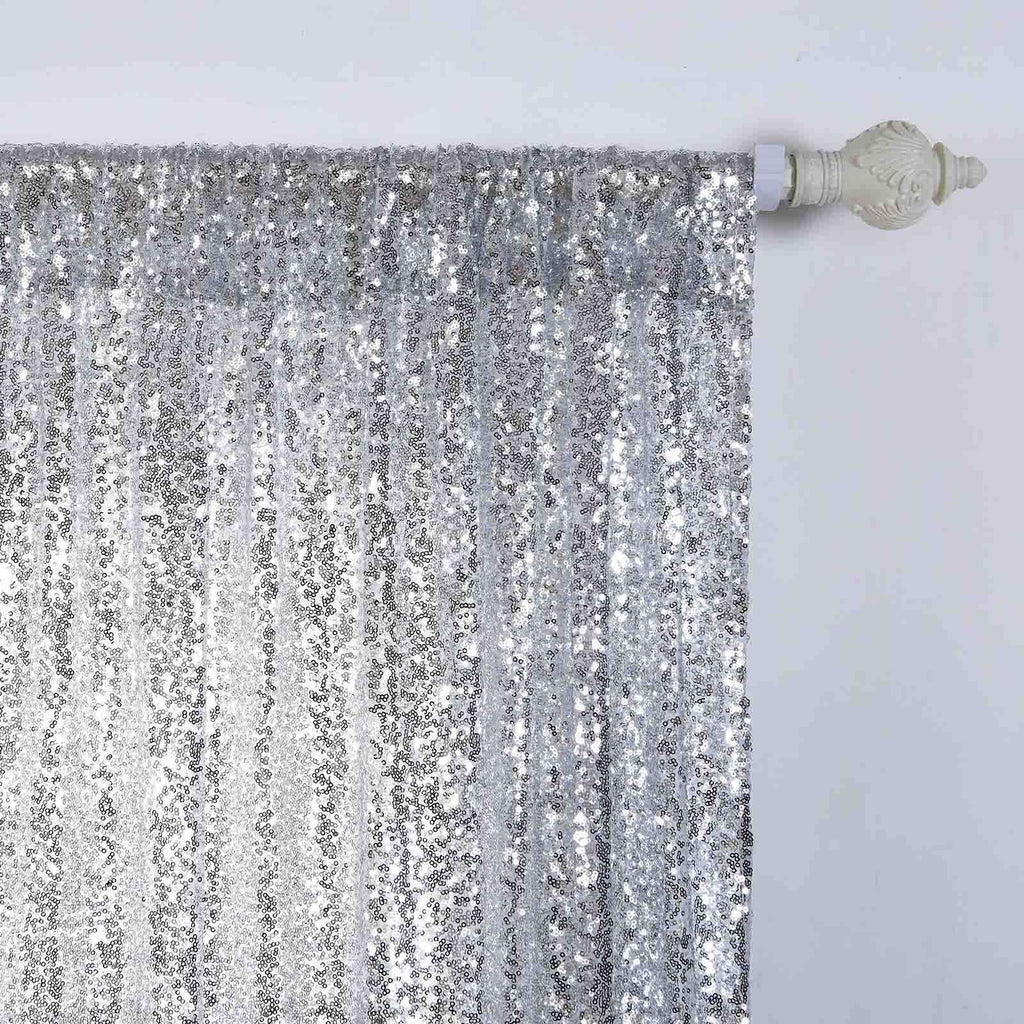 "2 Pack | 52""x96"" Silver Sequin Curtains With Rod Pocket Window Treatment Panels"