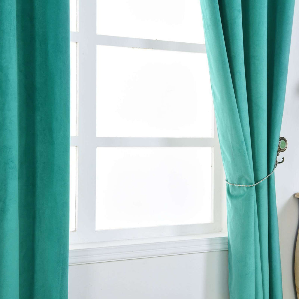 "2 Pack | 52""X108"" Teal Premium Velvet Thermal Blackout Curtains With Chrome Grommet Window Treatment Panels"