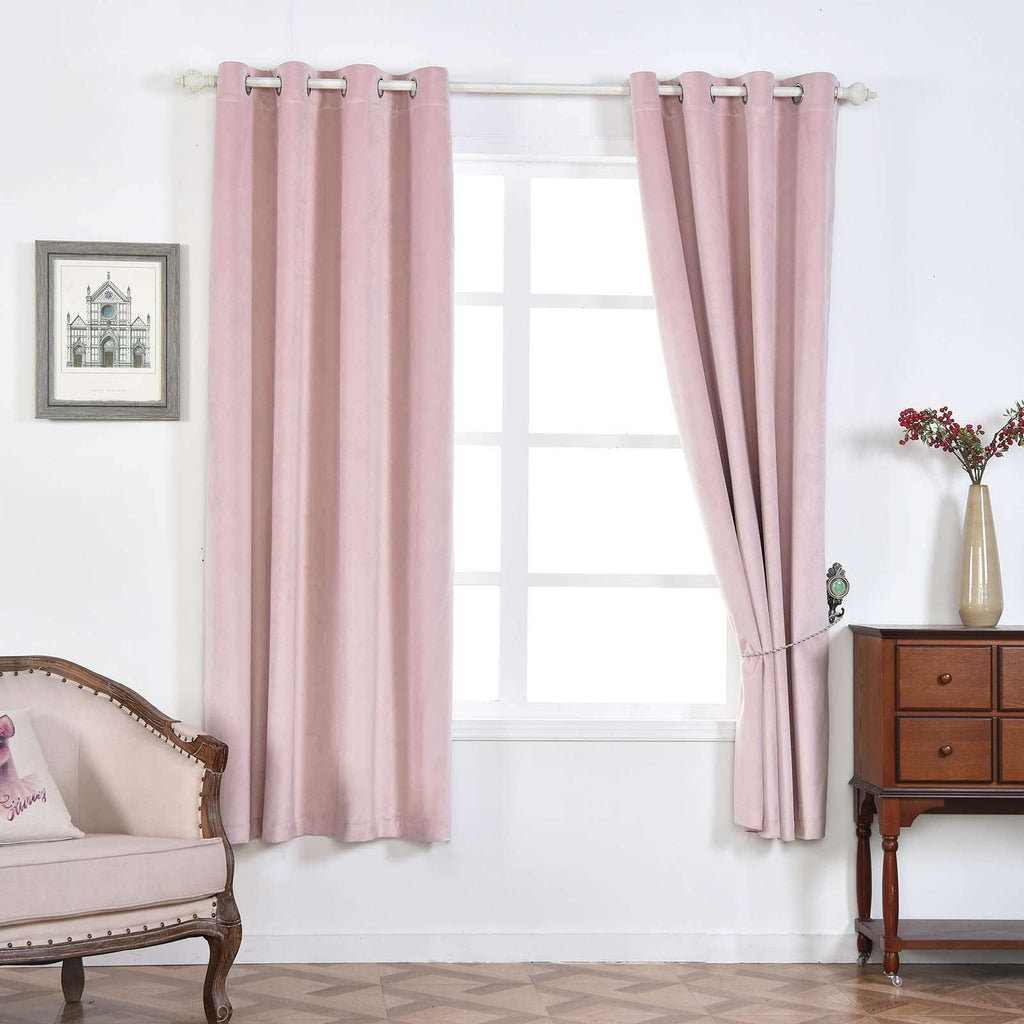 "2 Pack | 52""X64"" Premium Velvet Thermal Blackout Curtains With Chrome Grommet Window Treatment Panels - Rose Gold 