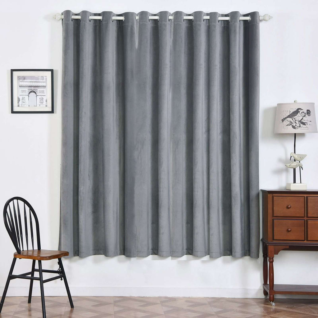 "2 Pack | 52""X84"" Charcoal Grey Premium Velvet Thermal Blackout Curtains With Chrome Grommet Window Treatment Panels"