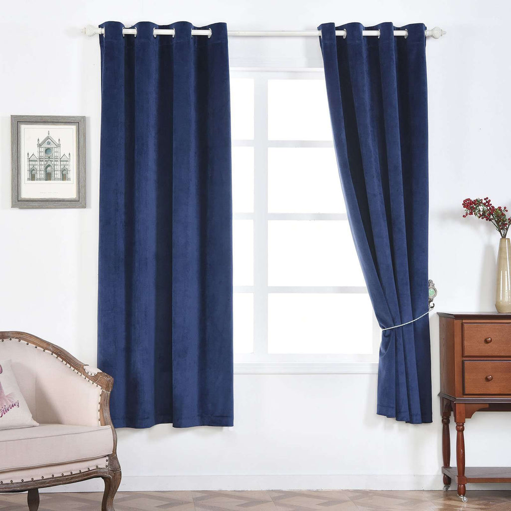 "2 Pack | 52""X84"" Navy Blue Premium Velvet Thermal Blackout Curtains With Chrome Grommet Window Treatment Panels"