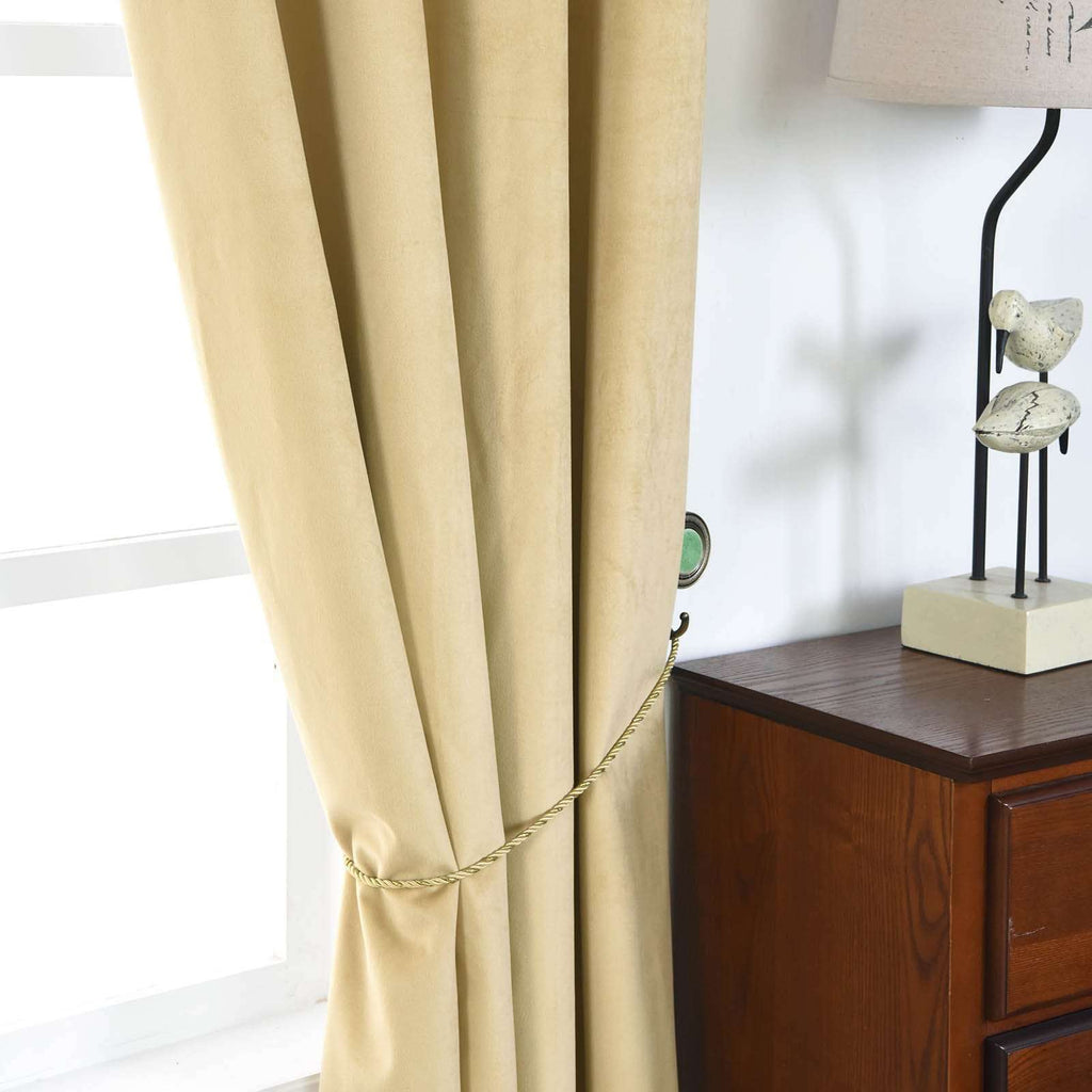 "2 Pack | 52""X96"" Champagne Premium Velvet Thermal Blackout Curtains With Chrome Grommet Window Treatment Panels"
