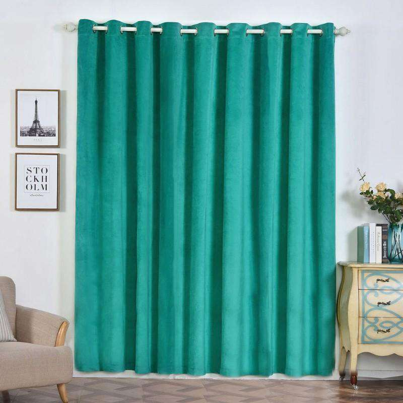 "2 Pack | 52""X96"" Teal Premium Velvet Thermal Blackout Curtains With Chrome Grommet Window Treatment Panels"