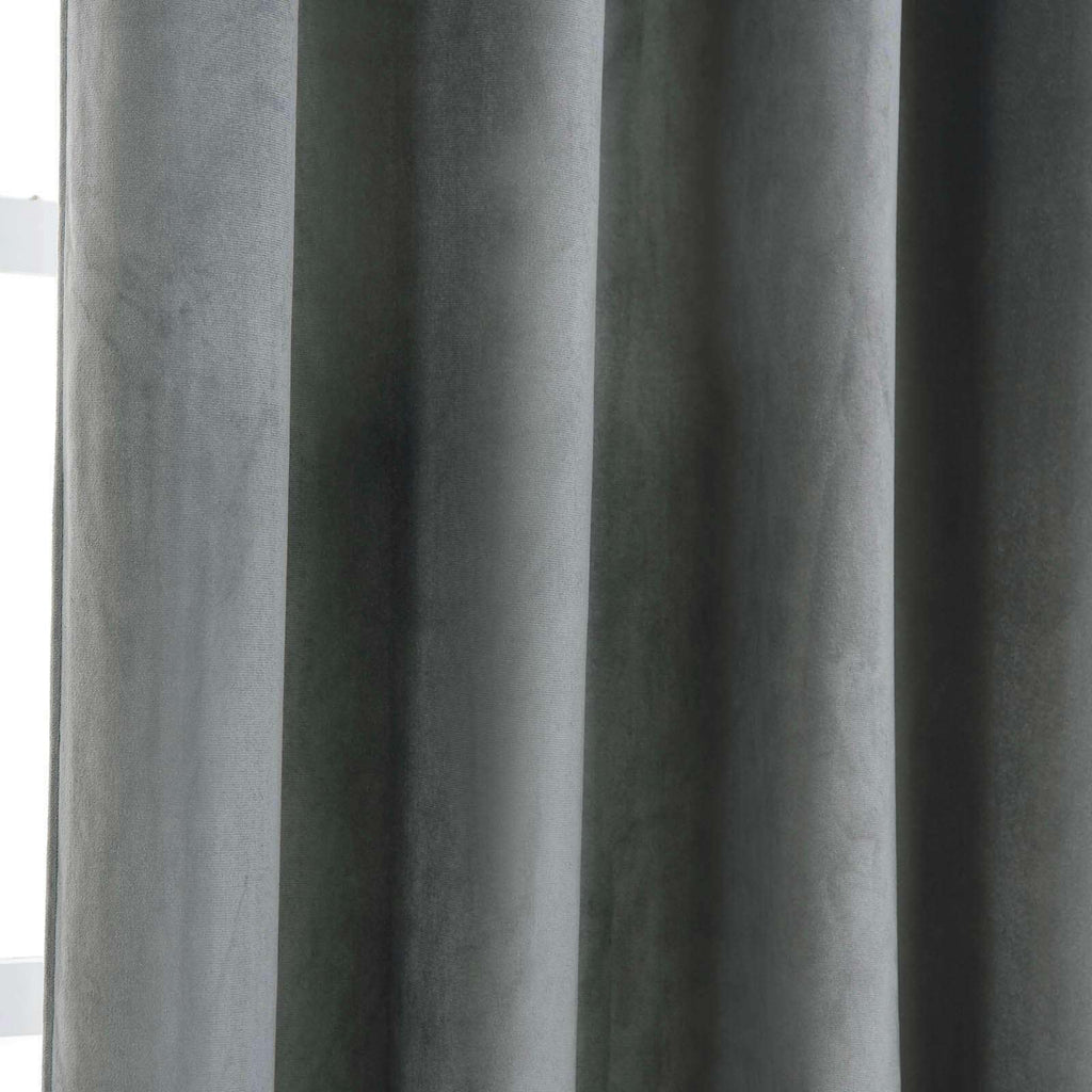 "2 Pack | 52""X108"" Charcoal Grey Soft Velvet Thermal Blackout Curtains With Chrome Grommet Window Treatment Panels"
