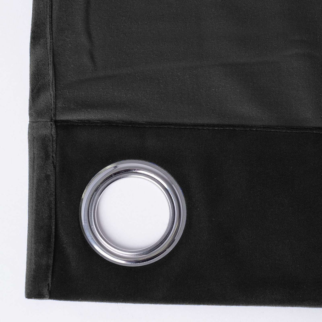 "2 Pack | 52""X108"" Black Soft Velvet Thermal Blackout Curtains With Chrome Grommet Window Treatment Panels"