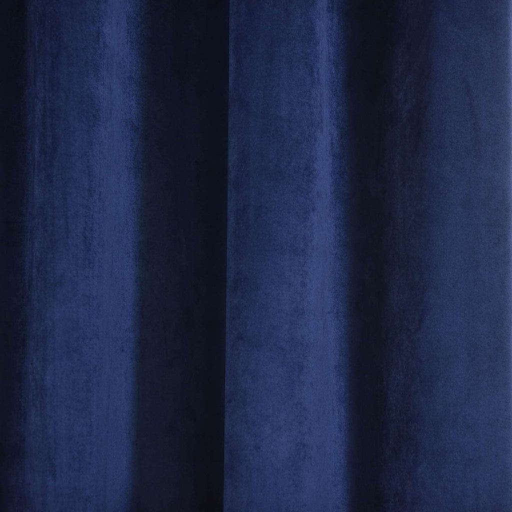 "2 Pack | 52""X108"" Navy Blue Soft Velvet Thermal Blackout Curtains With Chrome Grommet Window Treatment Panels"