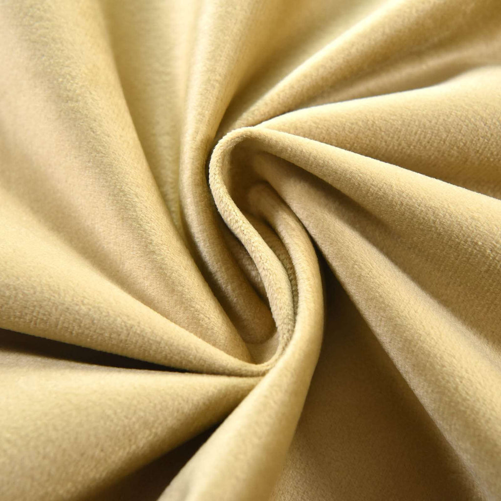 "2 Pack | 52""X64"" Champagne Soft Velvet Thermal Blackout Curtains With Chrome Grommet Window Treatment Panels"