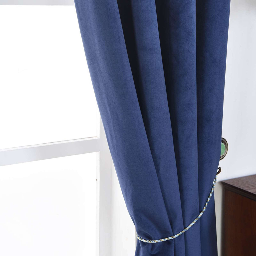 "2 Pack | 52""X64"" Navy Blue Soft Velvet Thermal Blackout Curtains With Chrome Grommet Window Treatment Panels"