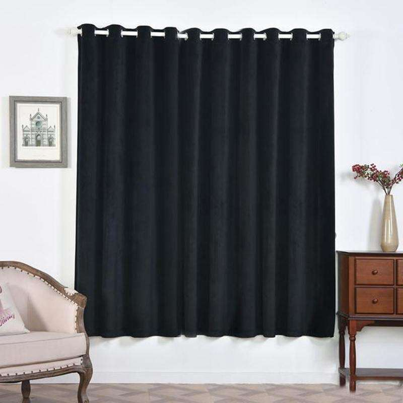 "2 Pack | 52""X84"" Black Soft Velvet Thermal Blackout Curtains With Chrome Grommet Window Treatment Panels"