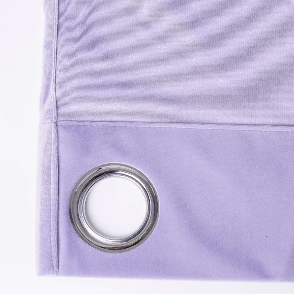 "2 Pack | 52""X96"" Lavender Soft Velvet Thermal Blackout Curtains With Chrome Grommet Window Treatment Panels"