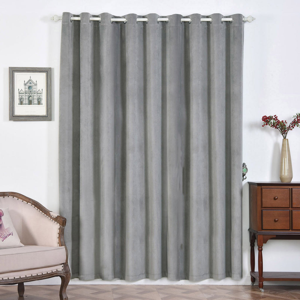 "2 Pack | 52""X96"" Silver Soft Velvet Thermal Blackout Curtains With Chrome Grommet Window Treatment Panels"