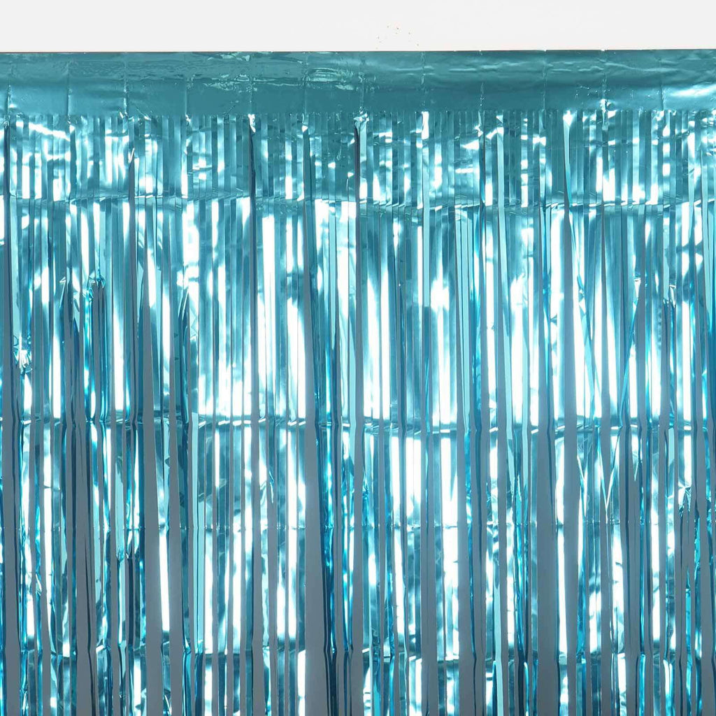 24 Sq ft. Turquoise Metallic Foil Shimmer Fringe Curtain Photo Party Backdrops