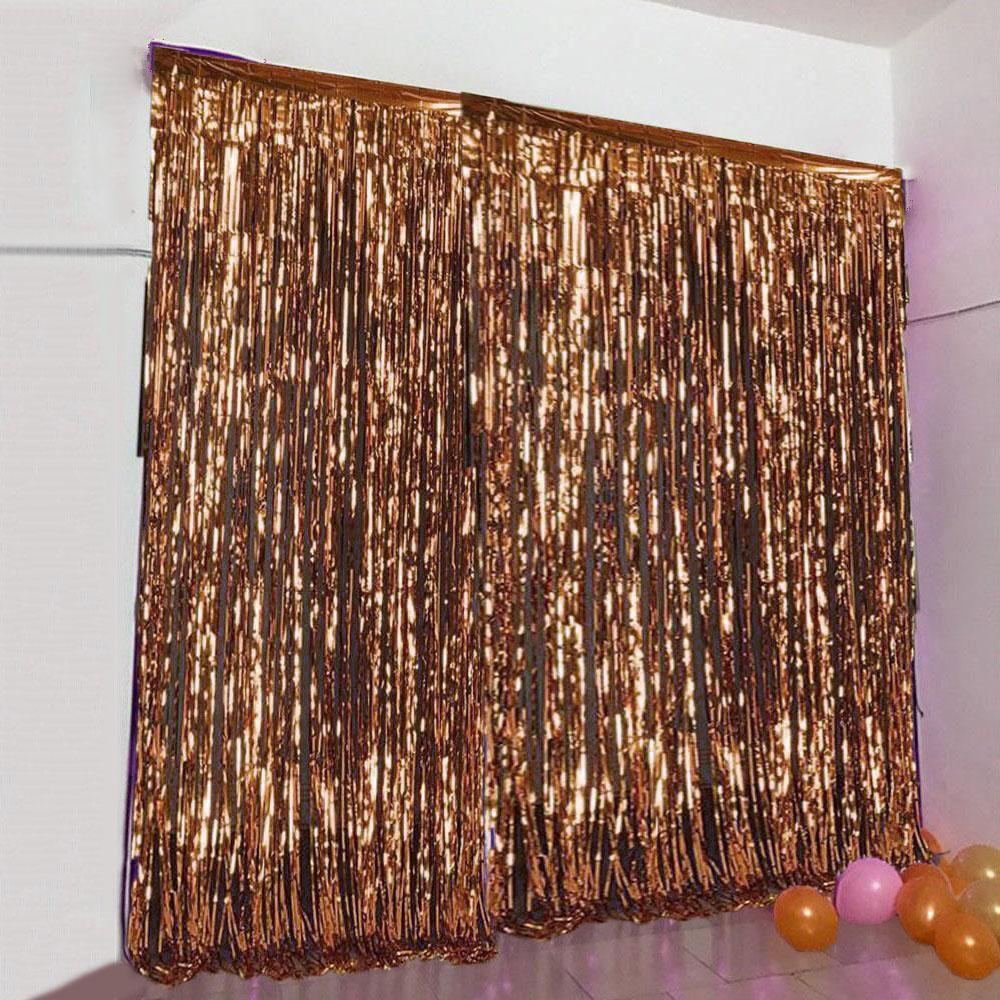 24 Sq ft. Rose Gold Metallic Foil Shimmer Fringe Curtain Photo Party Backdrops