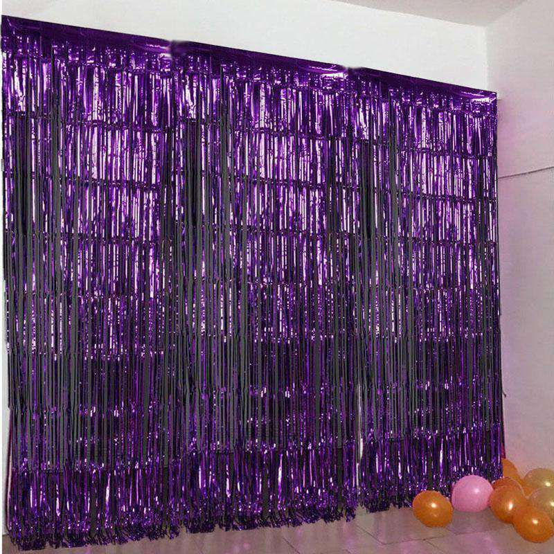 24 Sq ft. Purple Metallic Foil Shimmer Fringe Curtain Photo Party Backdrops
