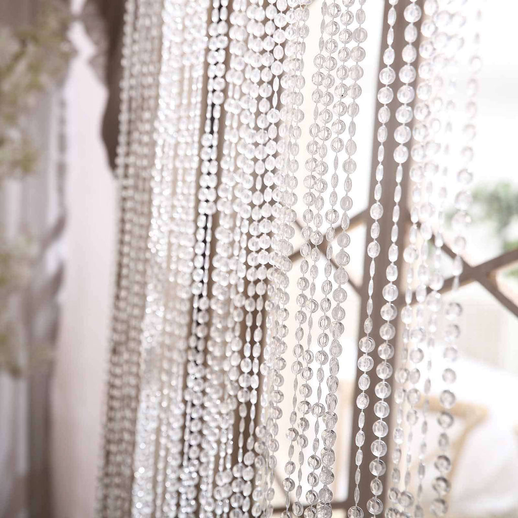 36 Sq Ft Crystal Diamond Iridescent Beaded Curtain with Bendable Metal Rod