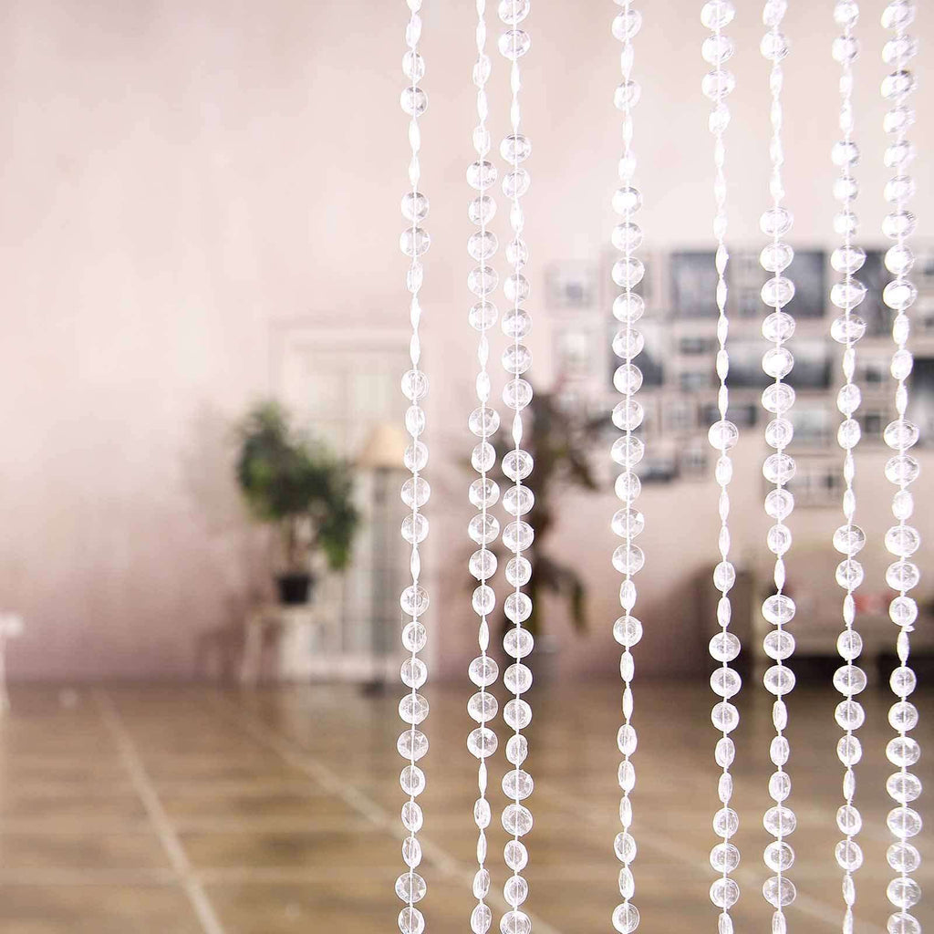 24 Sq Ft Crystal Diamond Iridescent Beaded Curtain with Bendable Metal Rod
