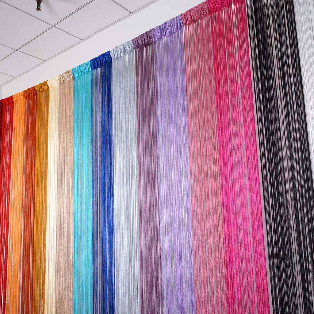 3ft x 12ft Coral Silk Tassel Door String Curtain For Wedding Home Window Panel Room Blind Divider