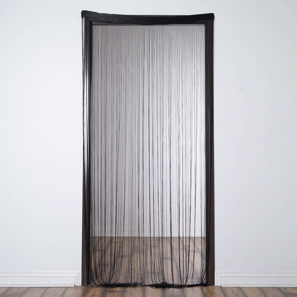 3ft x 12ft Black Silk Tassel Door String Curtain