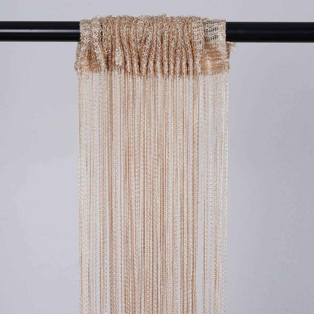 3ft x 12ft Champagne Silk Tassel Door String Curtain