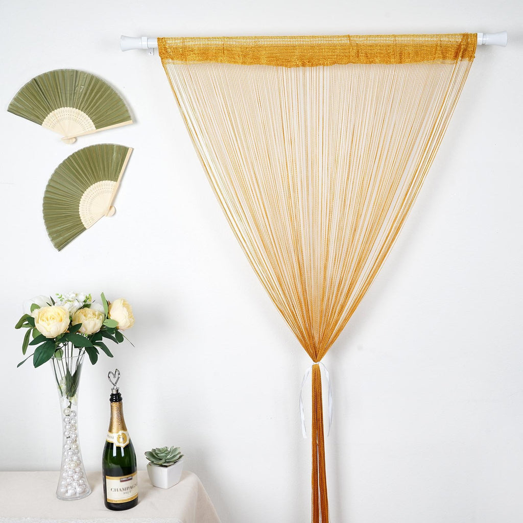 3ft x 12ft Champagne Silk Tassel Door String Curtain For Wedding Home Window Panel Room Blind Divider
