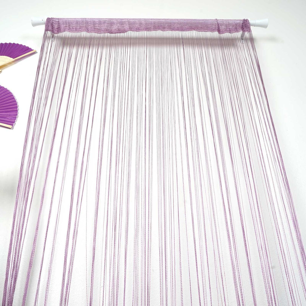 3ft x 8ft  Silk Tassel Door String Curtain- Rose Gold | Blush