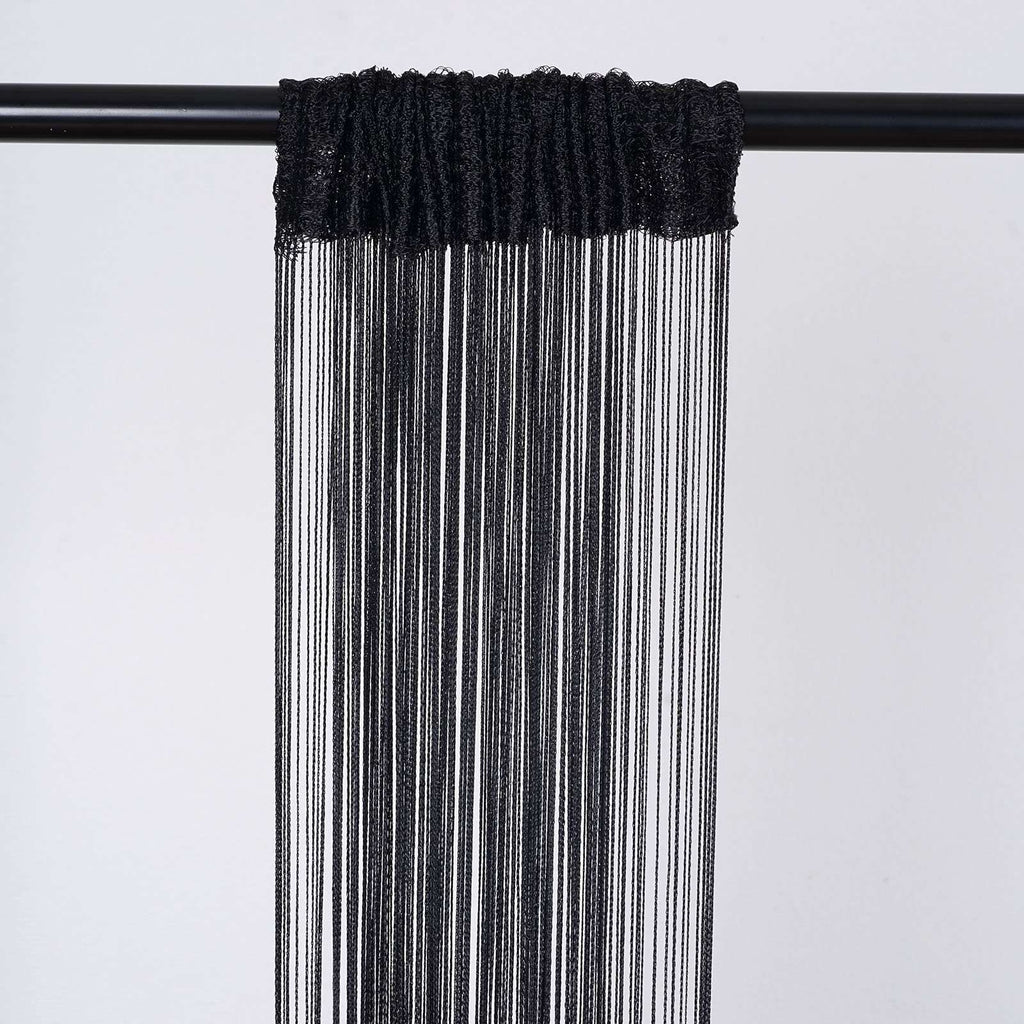 3ft x 8ft Black Silk Tassel Door String Curtain
