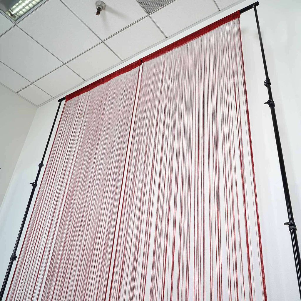 3ft x 8ft Burgundy Silk Tassel Door String Curtain For Home Window Panel Room Blind Divider