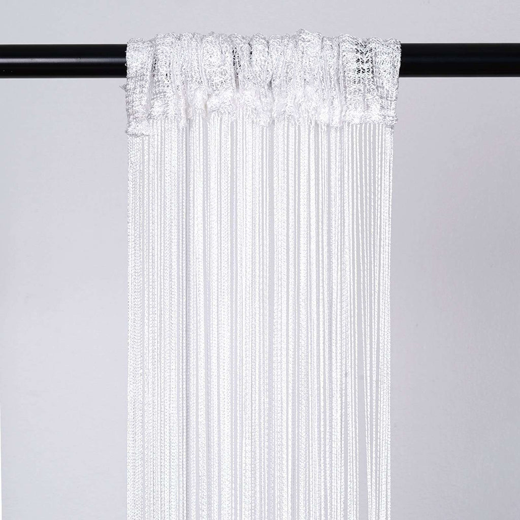 3ft x 8ft Fringe Inspired String Tassel Curtain - White