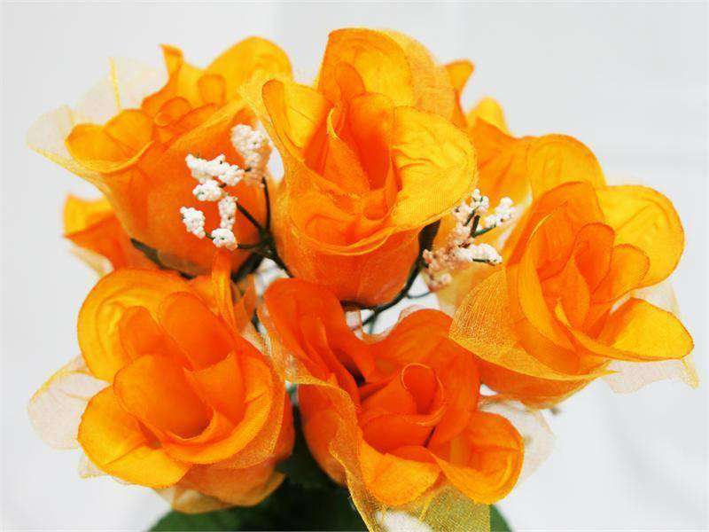 84 Wholesale Organza Rose Buds Wedding Vase Centerpiece Decor - Orange