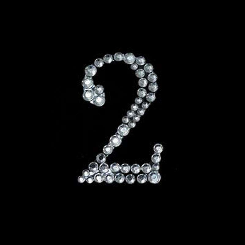 "CAN I HAVE YOUR NUMBER? Stick On-Rhinestone - Clear Number ""2"" 10/pk"