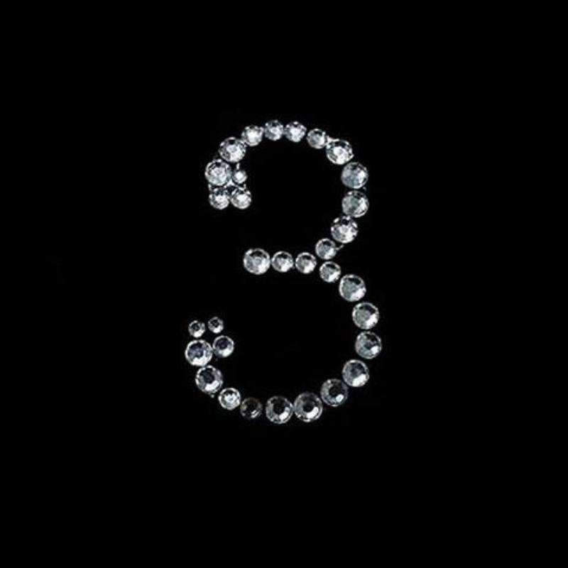 "CAN I HAVE YOUR NUMBER? Stick On-Rhinestone - Clear Number ""3"" 10/pk"
