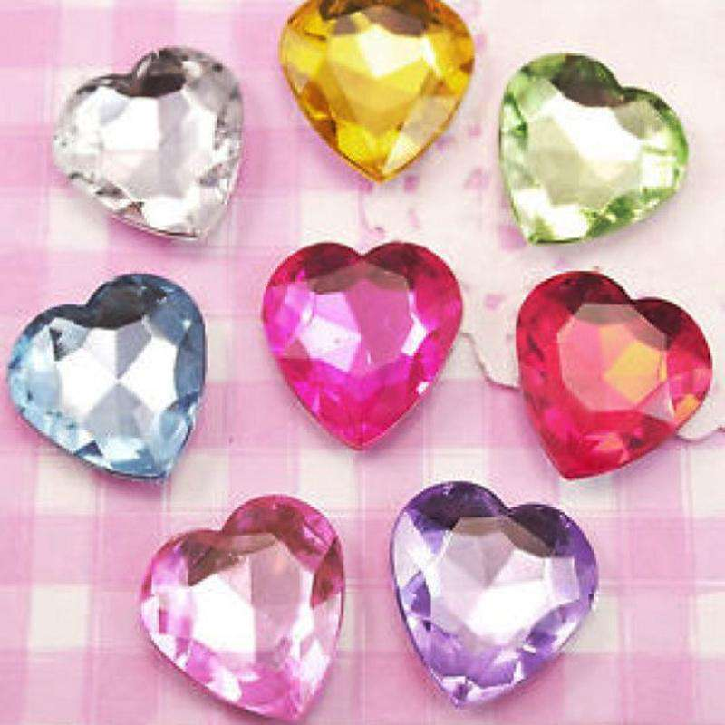 600 Pcs Heart Design Self Adhesive Fushia Diamond Rhinestone DIY Stickers