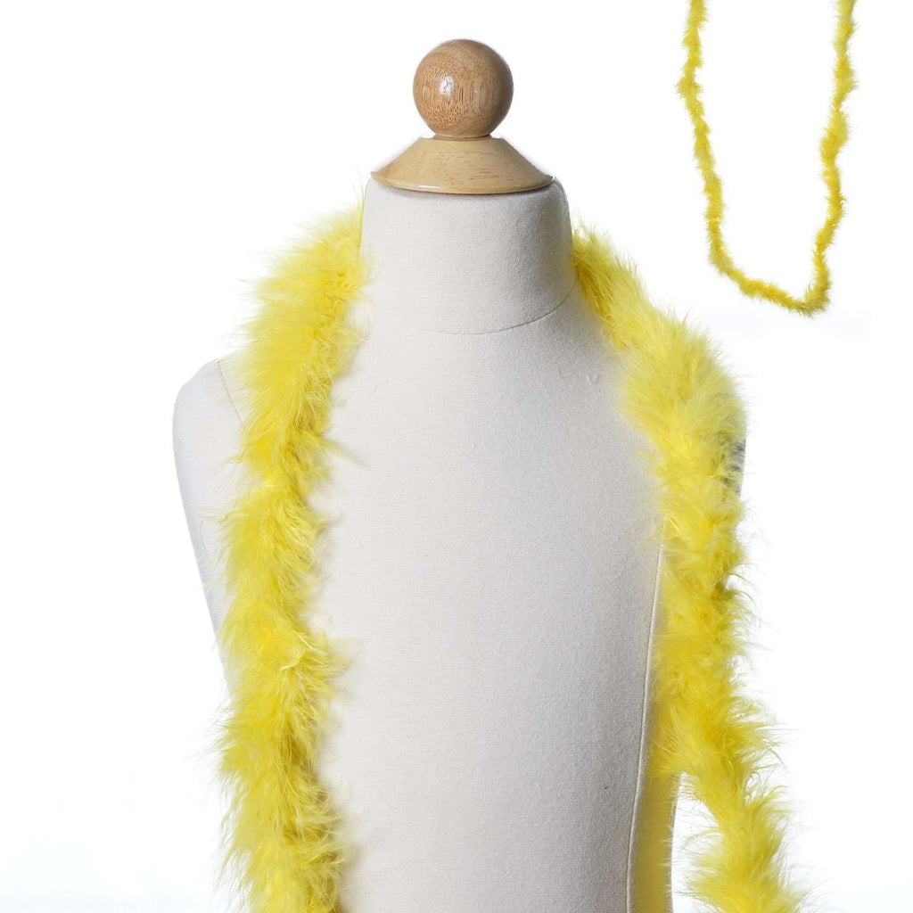Deluxe Marabou Ostrich Feather Boa-Lemon Yellow-2 Yards