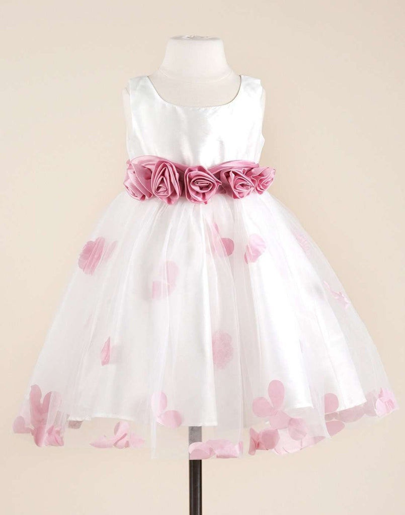 Compelling White Satin and Net Tulle Dress - Child-2
