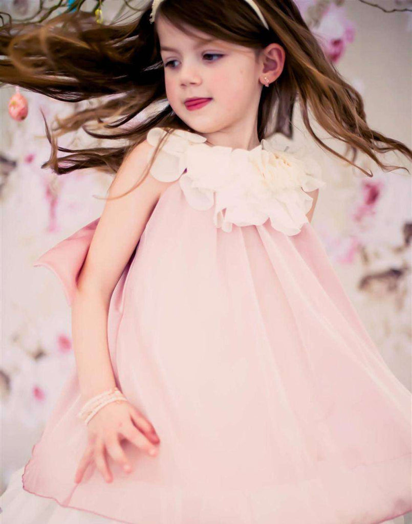 Chic Chiffon Dress With Ivory Flower Neckline - Blush - Child-2