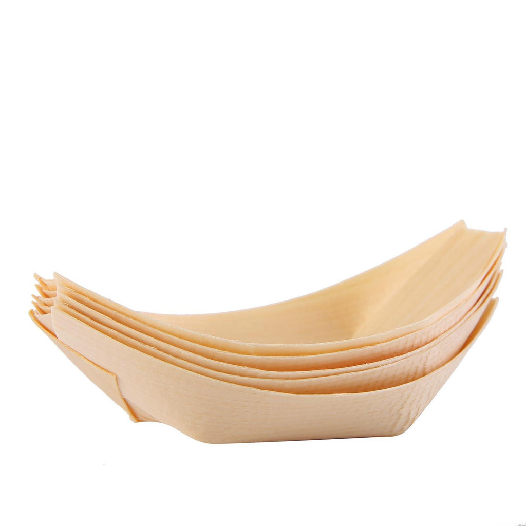 "50 Pack | 4"" Natural Wooden Disposable Food Boats 