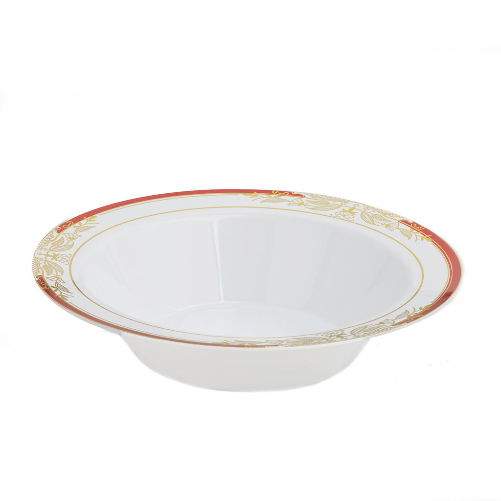 10 Pack | 12 oz Red Rim Round Disposable Soup Bowl With Gold Vine Design - White