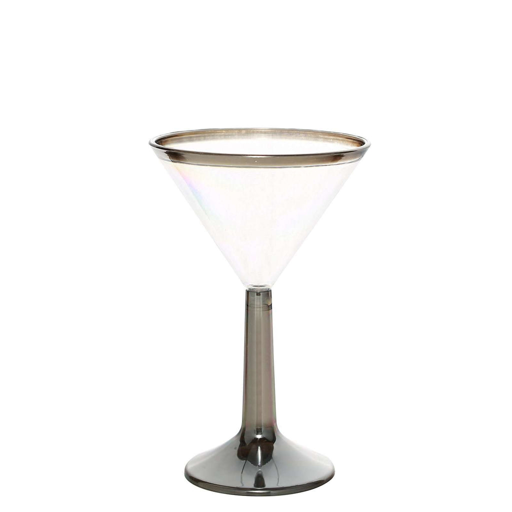 Plastic Martini Cocktail Glass Disposable | 5 oz | 8 Pack | 2-Piece | Silver | Rimmed Design | Detachable Base