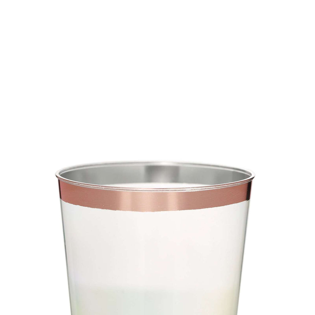 Plastic Tumblers Disposable | 10 oz | 6 Pack | Rose Gold | Rimmed Design
