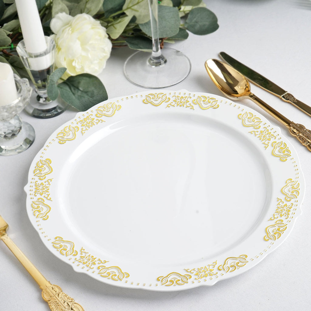 "10 Ct | 10"" Round Gold Embossed Disposable Dinner Plates With Scalloped Edges - White/Gold"